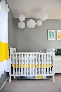 Custom Baby Crib Bedding Mod-Ephants Featuring Remix by Ann Kelle. Gray and yellow, LOVE the curtains!