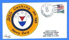 USS Cushing DD-985 Navy Day October 27, 1989 - Rogak Handpainted Cachet