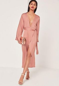 This blush pink silky maxi dress in our fave figure flattering kimono style is the perfect dress for all occasions! Kimono Dress, Kimono Style, Dress Red, Evening Dresses For Weddings, Evening Gowns, Going Out Dresses, Pretty Dresses, Kimono Fashion, Stylish Clothes