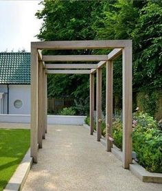 Pergola Attached To House Decks - Pergola Garten Einfach - Backyard Pergola Modern - - Small Pergola, Pergola Attached To House, Outdoor Pergola, Backyard Pergola, Wooden Pergola, Pergola Ideas, White Pergola, Rustic Pergola, Curved Pergola