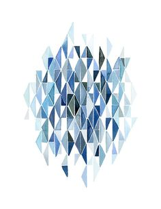 Handmade Watercolor Painting- Abstract Blue Triangles- 8x10 Wall Art Watercolor Print