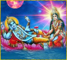 Narayana and Lakshmi Devi - Preserver and Protector of Life with Lakshmi - the Goddess of WEALTH WHO TURNS THE WHEEL OF FORTUNE!