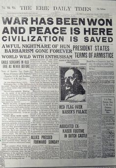 The headline says it all. This front page is dated November 11, 1918, now known as Armistice Day or Veteran's Day.