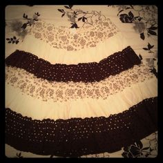 """Brown and White Striped Skirt with Flower Pattern Adorable chocolate brown and white flower skirt. 17"""" long,  medium, comfortable! NO trades NO PayPal Joe Benbasset Skirts Mini"""