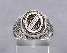 Turkish Handmade White Zircon Stone 925 Sterling Silver Men's Ring W/ Marcasite(n28-2b)
