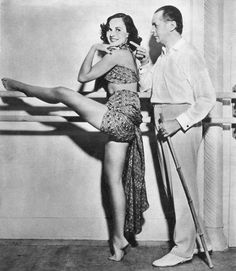 Paulette Goddard taking dance lessons from Theodore Kosloff during the making of Modern Times, 1935