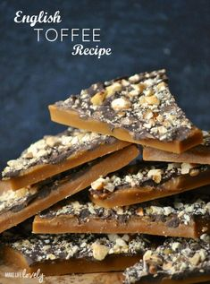 The BEST English Toffee Recipe! Learn how to make the BEST English toffee that looks and tastes amazing! English toffee is the perfect holiday candy treat for parties and Christmas gifts. Homemade Toffee, Homemade Candies, Easy Toffee Recipe, Vegan English Toffee Recipe, Almond Butter Toffee Recipe, Toffee Recipe No Nuts, Toffee Bar Cookie Recipe, Toffee Peanuts Recipe, Bonbon