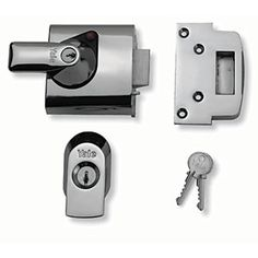 Dark Metallic // Chrome Finish Double Locking Nightlatch Yale B-1-DMG-SC-60 60mm High Security can be locked from inside with key