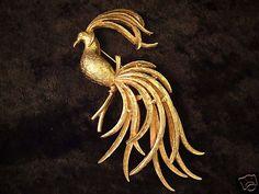 Vintage Signed Avon Goldtone Bird of Paradise Brooch Pin