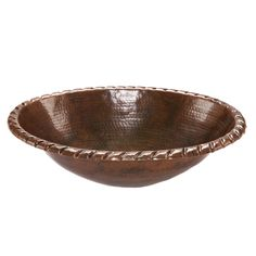 Premier Copper Products LO19RRDB Oval Roped Rim Self Rimming Hammered Copper Sink - LO19RRDB