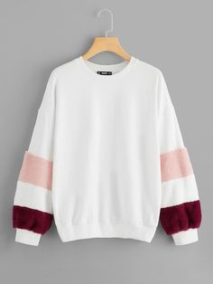 To find out about the Color Block Fleece Sleeve Sweatshirt at SHEIN, part of our latest Sweatshirts ready to shop online today! Hoodie Sweatshirts, Sweatshirts Online, Hoodies, Pullover, Zip Hoodie, Teen Fashion, Fashion Outfits, Fashion Black, Daily Fashion