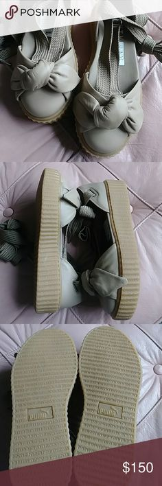 Puma Fenty Bow Creeper 💓Awesome on! Pair with a skirt, shorts or a loose fit jean   Tan leather upper  Size: 7 /EUR 37.5 / 23.5 cm   No box Puma Fenty Bow Creeper by Rihanna NWOT    💞Make an offer!💞 So cute!!! 💓 Puma Shoes