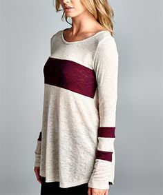 Another great find on #zulily! Burgundy Stripe Tunic #zulilyfinds Light weight & relax fit. nice color