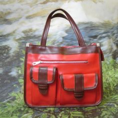 1970s Red and Brown Vinyl Handbag by FASHIONRERUN on Etsy, $28.00