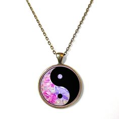 90s Soft Grunge Floral Yin Yang Necklace - Vintage Inspired Pop Culture Jewelry