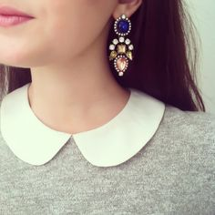 Statement earrings + peter pan collar