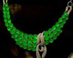 Multi-layer imperial green jadeite necklace