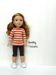 14 inch doll clothes AG doll clothes pumpkin and cream striped tunic and brown…