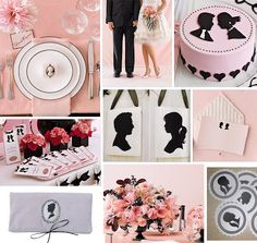 cameo / silhouette  Pink & black  Place setting, invitations, cake