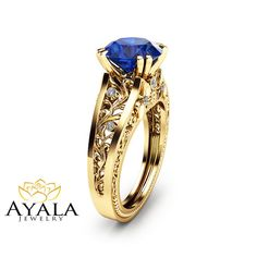 Blue Sapphire Engagement Ring Unique 2 Carat by AyalaDiamonds