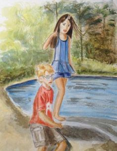 "Saatchi Art Artist Mar Ruiz Bilbao Art; Painting, ""Twins having fun by the river"" #art"