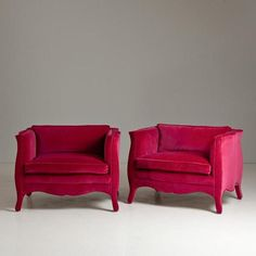A Pair of Velvet French Style Armchairs by Talisman