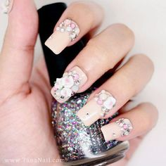 3D Nail Art, Press On Nails, False Nails - Little White Flower & rhinestones with nude color polish (T108K)