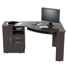 INVAL Corner Computer Desk finished in Espresso-Wengue laminates. Executed in solid composite wood, double laminated durable melamine which is stain, heat and scratch resistant. This corner computer desk has a large work surface making it a perfect a Computer Desk With Shelves, Desk Shelves, Shelf, L Shaped Executive Desk, Wood Writing Desk, Best Desk, Home Office Desks, Office Furniture, Modern Furniture