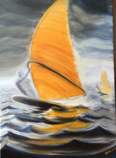 Sailing in hard wind,  Oil painting #watersport #painting #ojam_painting