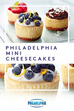 The perfect size for a treat. Make these PHILADELPHIA Mini Cheesecakes for your .The perfect size for a treat. Make these PHILADELPHIA Mini Cheesecakes for your next get-together and your guests can top them off themselves. Mini Cheesecake Recipes, Mini Desserts, Easy Desserts, Delicious Desserts, Dessert Recipes, Cheesecake Cupcakes, Mini Cheesecake Bites, Simple Cheesecake Recipe, Raspberry Cheesecake