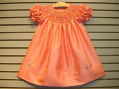 New boutique design hand embroidered bishop smocked dress - Size 3  4  5  6  7  8  Coral Orange
