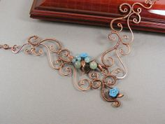 Wire Necklace - Copper Wire Necklace with green and aqua stones flowers leaves - Handmade - Wrapped Copper Statement Necklace - Wire Jewelry...