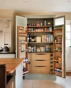 Fantastic great and amusing wooden kitchen pantry cabinet : Brown Wooden Desk Also With Wooden Pantry Kicthen Also With Chest Of Drawer Drinking And Food Stand Alone Kitchen Pantry, Kitchen Pantry Design, Kitchen Pantry Cabinets, Kitchen Redo, Kitchen Living, Kitchen Storage, New Kitchen, Kitchen Remodel, Pantry Storage