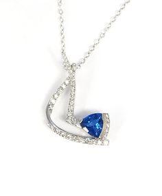 Kashmire Blue Topaz Pendant in  14K White Gold and Diamonds  #gold #necklace #diamonds #topaz #blue #jewelry #fashion #style