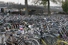 Bikes for days in Amsterdam....literally what it looks like outside their train station.