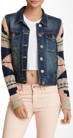 DIY this.....with an old jean jacket...a sweater with a neat graphic sleeve,,,,easy!   Jolt Denim Knit Sleeve Jacket