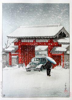 Kawase Hasui (1883-1957): Snow at Shiba Gate, 1936