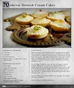 Medieval Dornish Cream Cakes - Game of Thrones Recipes Medieval Recipes, Ancient Recipes, Just Desserts, Dessert Recipes, Cake Recipes, Game Of Thrones Food, Viking Food, Cake Ingredients, Vintage Recipes
