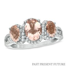 Oval Morganite and 1/3 CT. T.W. Past Present Future® Ring in 10K White Gold