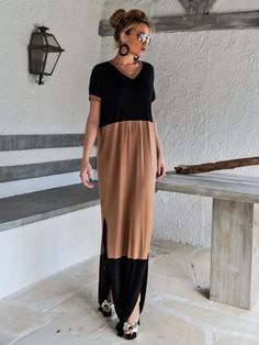 Black & Taupe Maxi Dress / Black Taupe Kaftan / Plus Size Dress / Oversize Loose Dress / #35071  This elegant, sophisticated, loose and