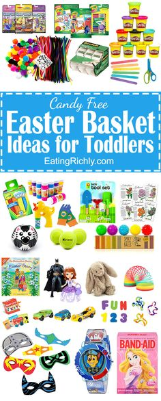 For those of you who don't want to load your little one up with sugar this Easter, we've put together a list with 30 of our favorite no candy Easter basket ideas for toddlers. Easter Baskets For Toddlers, Boys Easter Basket, Easter Bunny, Easter Party, Easter Gift, Easter Crafts, Bunny Crafts, Happy Easter, Holiday Crafts