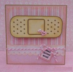 7 pink button Handmade Get Well Soon Card