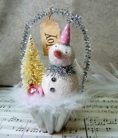Pink - Cottage Style Glittery Snowman Cup with Bottle Brush Tree Christmas Folk Art Ornament! Frosty with a touch of pink! Vintage Christmas Crafts, Pink Christmas, Christmas Snowman, Christmas Projects, Winter Christmas, Holiday Crafts, Christmas Gifts, Christmas Decorations, Christmas Ornaments