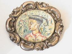 Large Antique Georgian 19thC Silver Chinese Brooch handpainted miniature, £95.00