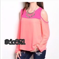 Cold Shoulder Blouse Pink on pink color block cold shoulder blouse. Made of poly/rayon blend. Size small and medium Tops