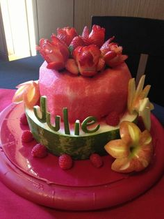 Pins daddy watermelon and fresh fruit birthday cake picture to pin on pinte Fruit Birthday Cake, Watermelon Birthday Parties, Birtday Cake, Watermelon Wedding, Healthy Birthday, Fruit Cake Watermelon, Fresh Fruit Cake, Fruit Cakes, Watermelon Healthy