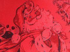 VINTAGE 1950's SANTA CLAUS SHINY BRITE ORNAMENTS RED CHRISTMAS TABLECLOTH