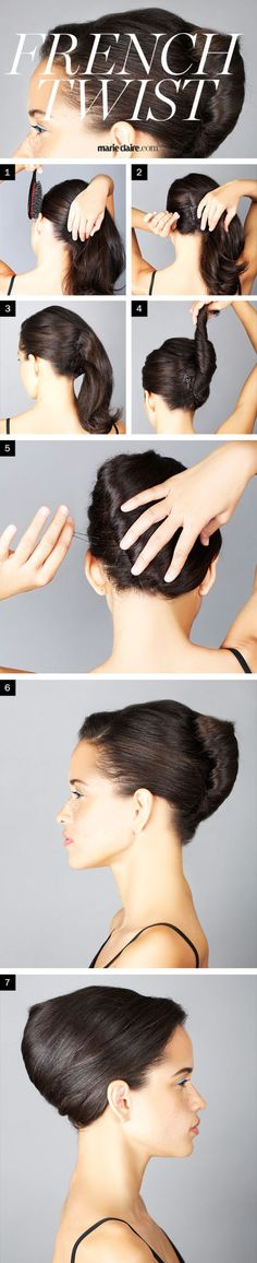 I think the key is, after you pin back the first section, you twist the hair from the bottom as if twisting a ponytail.