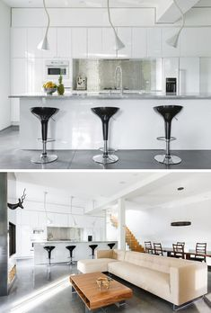 Kitchen Design Ideas - 9 Backsplash Ideas For A White Kitchen // Add some shine to your white kitchen with a metallic backsplash. It'll add a fun touch to the kitchen and help brighten it up by reflecting the light in the room. From mirrors to metals, you can create the look using any metallic material you like.