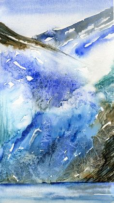This is a semi abstract impression of the Grand Pacific Glacier in Alaska's Glacier Bay. The ice front is 200 feet high and a mix of translucent blues a. Watercolor Projects, Watercolor Landscape Paintings, Abstract Landscape, Watercolour Painting, Abstract Art, Snow Scenes, Winter Scenes, Painting Snow, Colouring Pics
